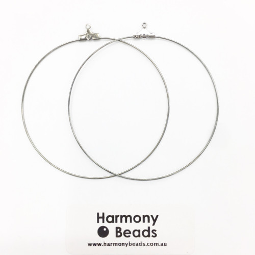 Earring Hoops 60mm Black Nickel Colour [2 pairs]