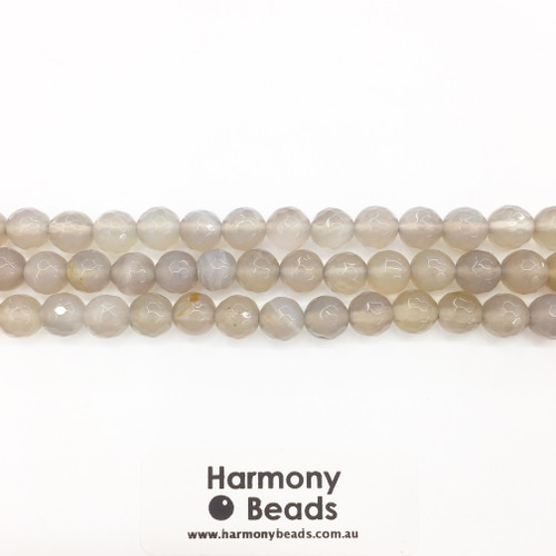 Agate Faceted Round Beads, Natural, Grey 8mm