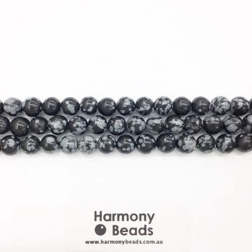 Snowflake Obsidian Smooth Round Beads, Black, Natural, 8mm