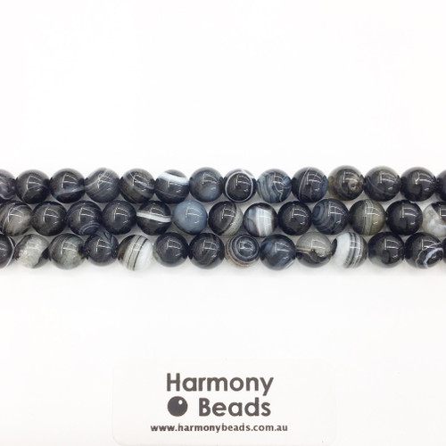 Striped Agate Smooth Round Beads, Black, 8mm