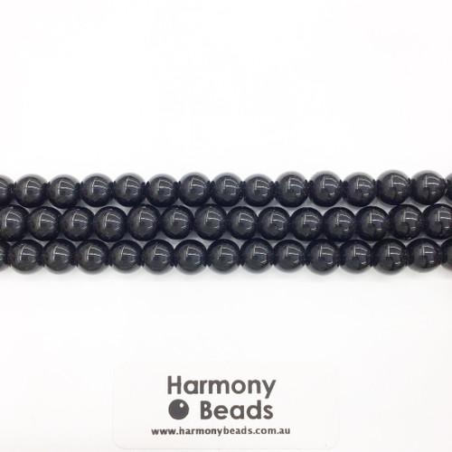 Onyx Smooth Round Beads, Black, 8mm