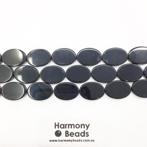 Onyx Flat Oval Beads, Black, 13x18mm