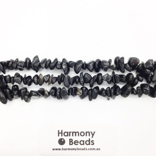 Onyx Chip Beads, Black