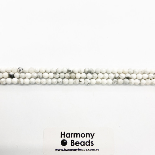 Howlite Smooth Round Beads, White w Grey Vein, Natural, 4mm