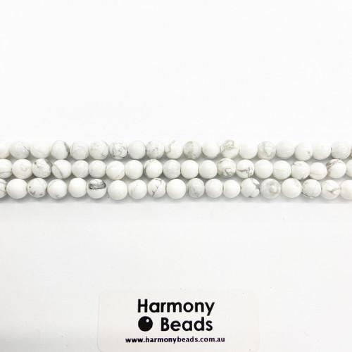 Howlite Smooth Round Beads, White w Grey Vein, Natural, 6mm