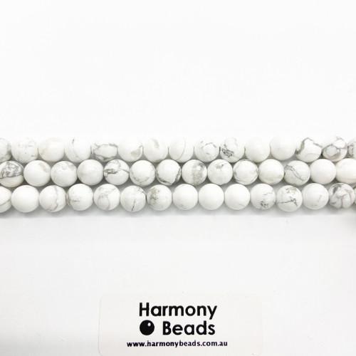 Howlite Smooth Round Beads, White w Grey Vein, Natural, 8mm