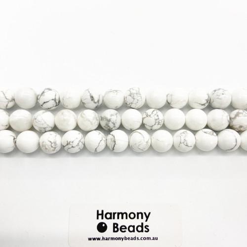 Howlite Smooth Round Beads, White w Grey Vein, Natural, 10mm