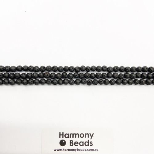 Lavastone Round Beads, Natural, 4mm