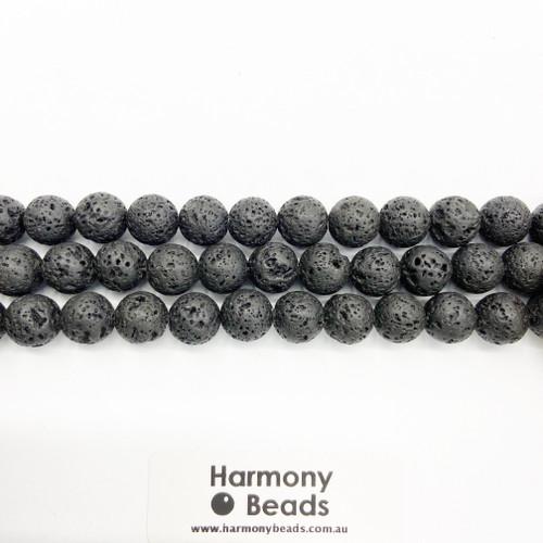 Lavastone Round Beads, Natural, 10mm