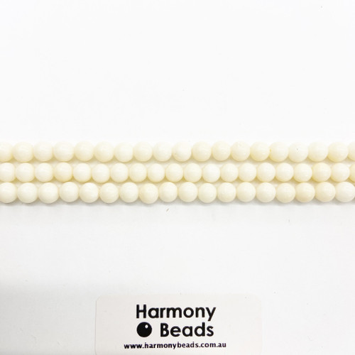White Sponge Coral Smooth Round Beads, Natural, 7mm