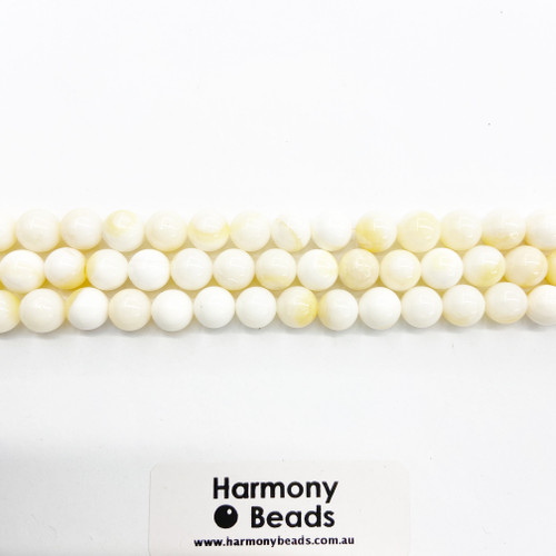 Mother of Pearl Smooth Round Beads, Natural, 8mm