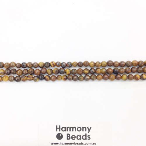 Tigers Eye Smooth Round Beads, Natural, 4mm