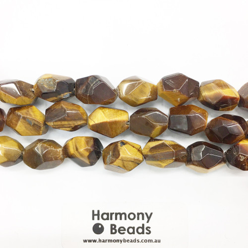 Tigers Eye Faceted Nugget Beads, Natural, 10x15mm