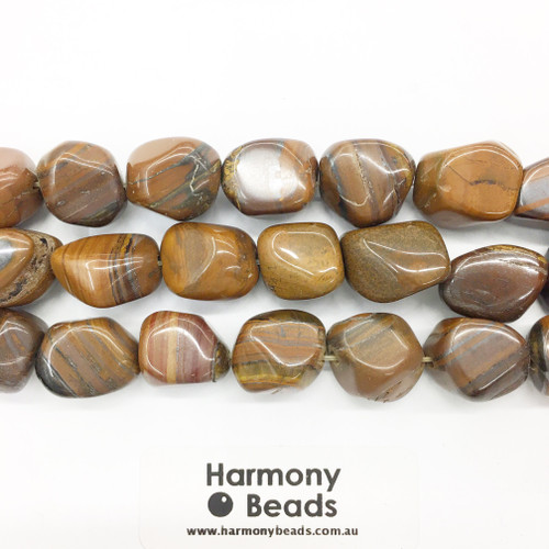 Tigers Eye Smooth Nugget Beads, Natural, 15x20mm