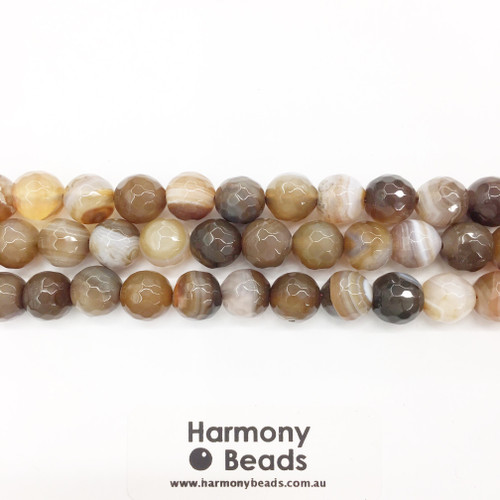 Striped Agate Faceted Round Beads, Brown, 10mm