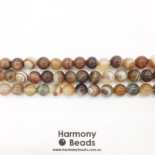 Striped Agate Smooth Round Beads, Brown, 8mm