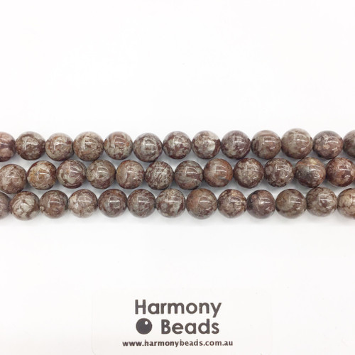 Brown Snowflake Obsidian Smooth Round Beads, Natural, 8mm