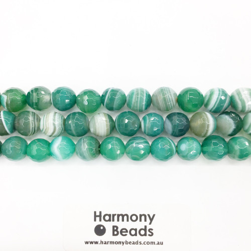 Striped Agate Faceted Round Beads, Green, 10mm