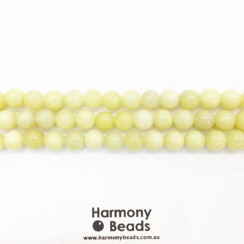 Olivine Jade Smooth Round Beads, Natural, 8mm