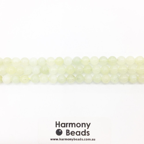 New Jade Smooth Round Beads, Natural, 6mm