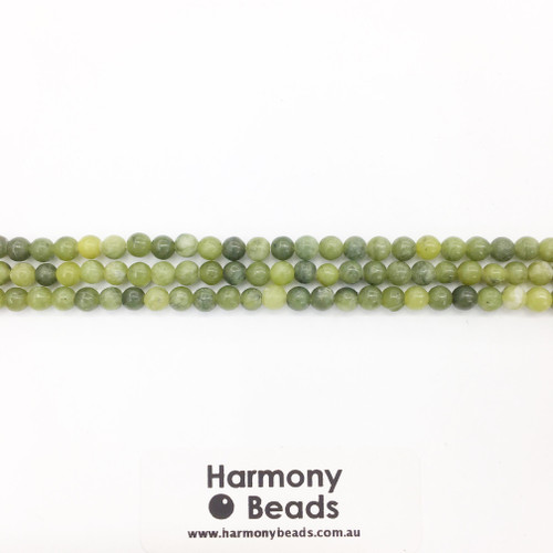 Nephrite Jade Smooth Round Beads, Natural, 4mm