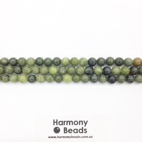 Nephrite Jade Smooth Round Beads, Natural, 6mm