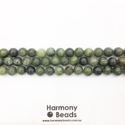 Nephrite Jade Smooth Round Beads, Natural, 8mm