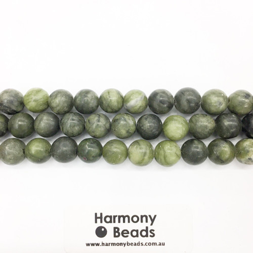 Nephrite Jade Smooth Round Beads, Natural, 10mm