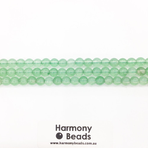 Aventurine Smooth Round Beads, Green Dyed, 6mm