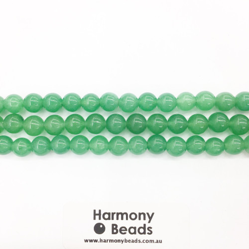 Aventurine Smooth Round Beads, Green Dyed, 8mm