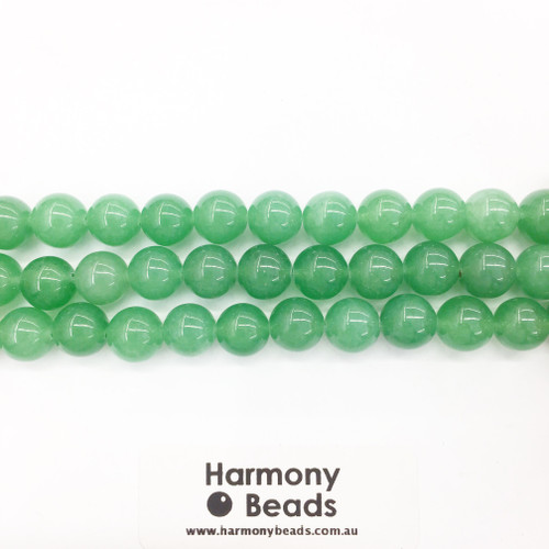 Aventurine Smooth Round Beads, Green Dyed, 10mm