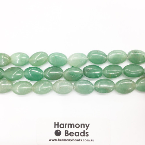 Aventurine Flat Oval Beads, Green Dyed, 10x15mm