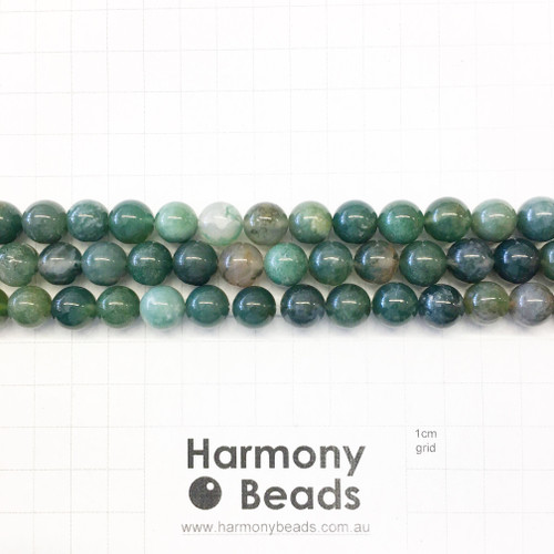 Moss Agate Smooth Round Beads, Natural, 10mm