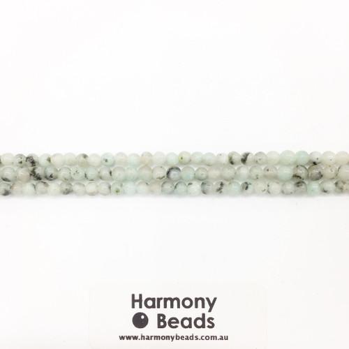 Kiwi Jasper Smooth Round Beads, Natural, 4mm