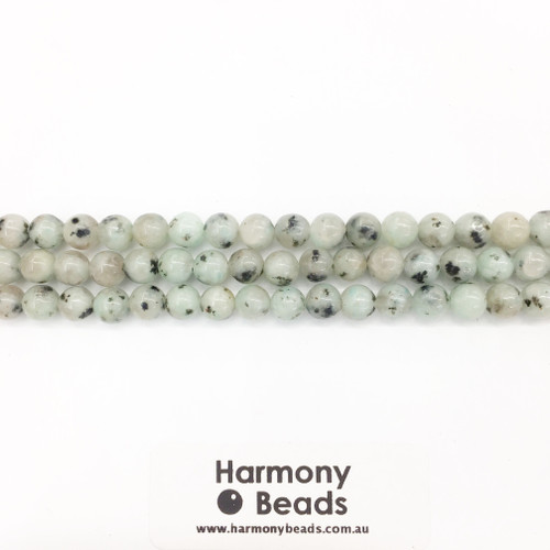 Kiwi Jasper Smooth Round Beads, Natural, 6mm