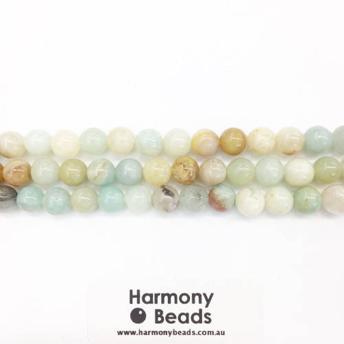 Amazonite Smooth Round Beads, Natural, 8mm