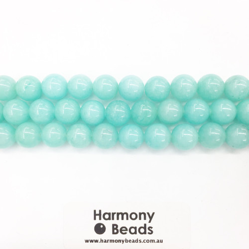 Synthetic Amazonite Smooth Round Beads, Aqua Dyed, 10mm