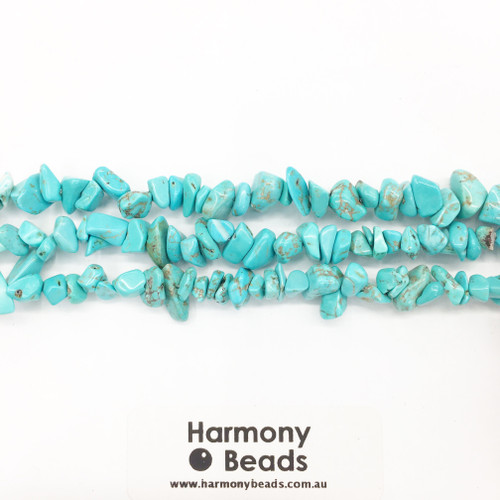 Howlite Small Chips, Turquoise Dyed