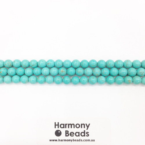 Howlite Smooth Round Beads, Turquoise Dyed, 6mm