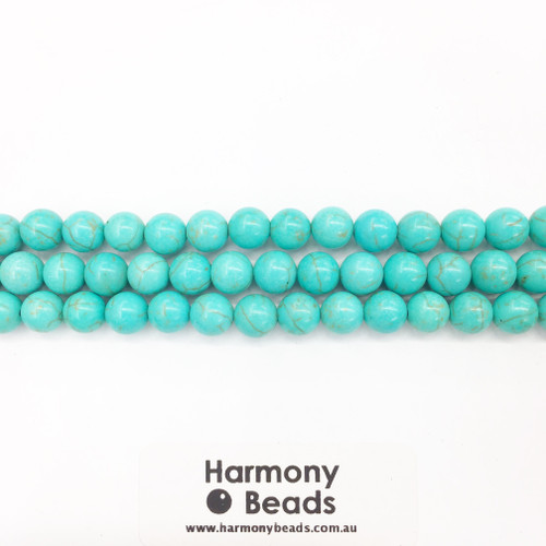 Howlite Smooth Round Beads, Turquoise Dyed, 8mm