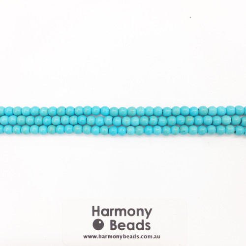 Howlite Smooth Round Beads, Aqua Blue, 4mm