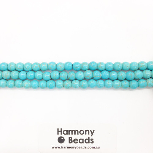 Howlite Smooth Round Beads, Aqua Blue, 6mm