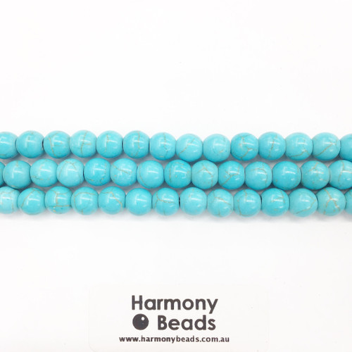 Howlite Smooth Round Beads, Aqua Blue, 8mm