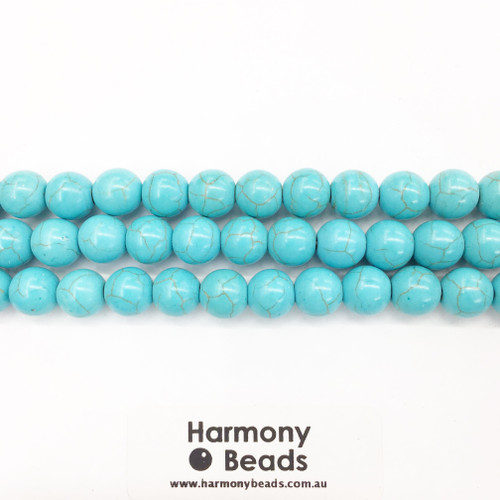 Howlite Smooth Round Beads, Aqua Blue, 10mm