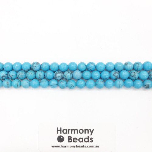 Howlite Smooth Round Beads, Blue Turquoise w Vein, 6mm