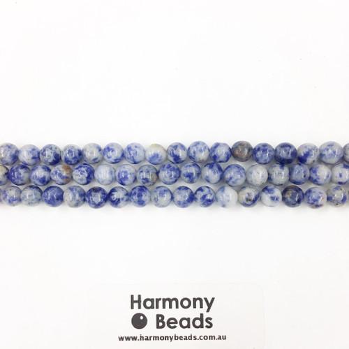 Sodalite / Denim Lapis Smooth Round Beads, Natural, 6mm