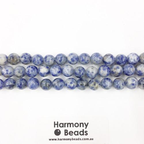 Sodalite / Denim Lapis Smooth Round Beads, Natural, 8mm