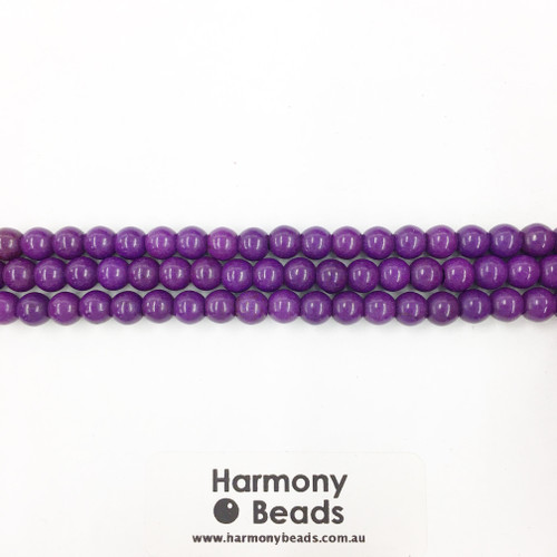 Howlite Smooth Round Beads, Purple Dyed, 6mm