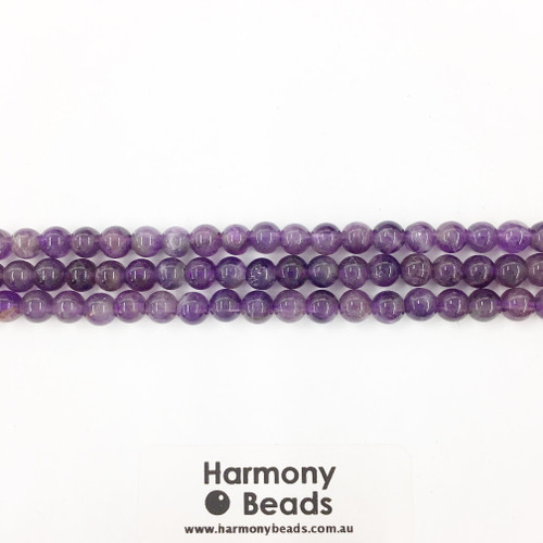 Amethyst Smooth Round Beads, Natural, 6mm