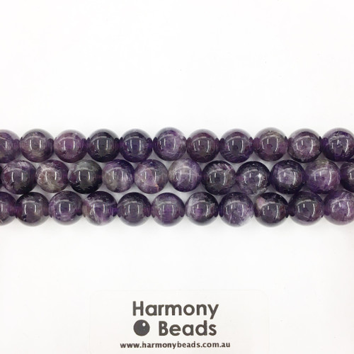 Amethyst Smooth Round Beads, Natural, 10mm